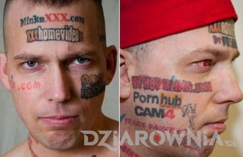 Człowiek, który wytatuował sobie na twarzy loga stron porno